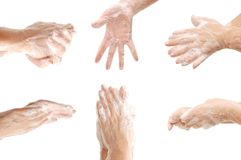 Set of female hands in foam Royalty Free Stock Image