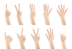 Set female hands gestures making a numbers. From 0 to 9 shape isolated on white background, clipping paths Royalty Free Stock Image