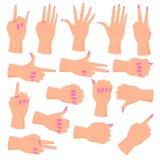 Set female hands. Hands in various gestures. Flat design modern vector illustration