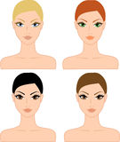 Set of female heads Stock Photo