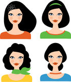Set of female heads Royalty Free Stock Images