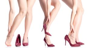Set Female Legs In Red High Heel Shoes Stock Image