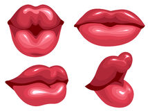 Set female lips kiss Stock Image