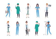 Set of female medical workers. Bundle of women medics dressed in white coats and scrubs - doctor or physician, paramedic. Nurse, surgeon, laboratory assistant Stock Photography