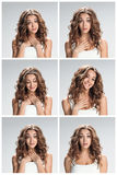 The set of female portraites with shocked facial expression Royalty Free Stock Image