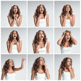 The set of female portraites with shocked facial expression Stock Image