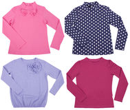 Set of female shirts. Isolated on white background Royalty Free Stock Photography