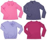 Set of female shirts. Isolated on white background Royalty Free Stock Photography