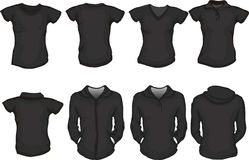 A set of female shirts template in black Stock Image