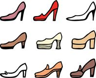 Set of the female shoes with high heels. Vector image of the different elegance female shoes Stock Photo
