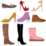 Set with different of women's shoes. royalty free stock photo