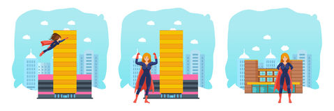 Set of female superhero in different situations and poses. Stock Photos