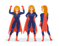 Set of female superhero in different situations and poses. Royalty Free Stock Photography