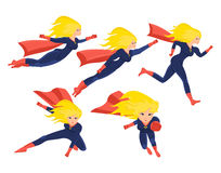 Set of female superhero in different situations and poses. Longhaired superwoman actions set in cartoon colored style in costume. Vector illustration isolated Royalty Free Stock Photography