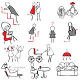 Set of female symbols. In doodle style Stock Photography