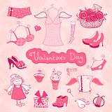 Set of female things for Valentine's Day Stock Photography