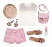 Set of female tourist summer clothing isolated on white background.  stock photography