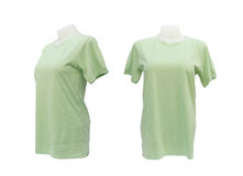 Set of female tshirt template on the mannequin on white Royalty Free Stock Image