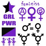 A set of feminist icons. And flags in purple and black color on a white background Royalty Free Stock Photography