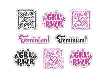 Set feminizmów majchery Feminizmów symboli/lów ilustraci d obrazy royalty free