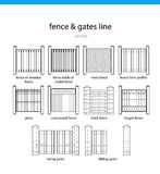 Set fence and gates vectors lines Royalty Free Stock Photos