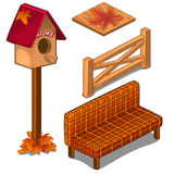 Set of fences, coverings, birdhouse and sofa Stock Photo