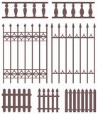 Set of fences silhouettes. Stock Images