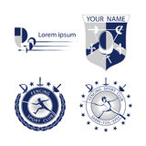 Set of Fencing sports logos, icons, labels, emblems, badges on white background. Stock Photos
