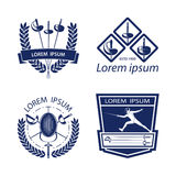 Set of Fencing sports logos, icons, labels, emblems, badges on white background. Royalty Free Stock Images