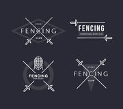 Set of Fencing sports vector logo or badge. Emblem elements. Fencing equipment - rapier, foil, mask. Sport academy. Royalty Free Stock Photo