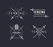 Set of Fencing sports vector logo or badge. Emblem elements. Fencing equipment - rapier, foil, mask. Sport academy. Set of Fencing sports vector logo or badge Royalty Free Stock Photo