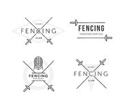 Set of Fencing sports vector logo or badge. Emblem elements. Fencing equipment - rapier, foil, mask. Sport academy.  Royalty Free Stock Photography