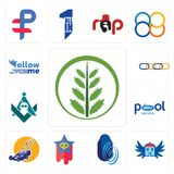 Set of fern, house with wings, thumbprint, superstar, lawn mower, pool service, freemasons, supply chain, follow me icons. Set Of 13 simple editable icons such Stock Images