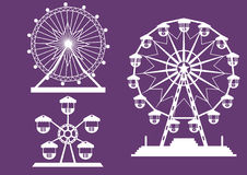 Set of Ferris Wheel from amusement park on purple backgrounds,  illustrations. Set of Ferris Wheel from amusement park on purple backgrounds Stock Photography