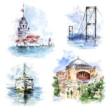 Set with ferry, Bosphorus Bridge, Maiden`s Tower and Hagia Sophia, Istanbul, Turkey stock illustration