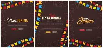 Set of Festa Junina backgrounds with hand draw doodle elements and party flags. Brazil or Latin American holiday. Vector. Illustration Stock Photography