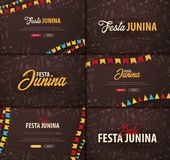 Set of Festa Junina backgrounds with hand draw doodle elements and party flags. Brazil or Latin American holiday. Vector. Illustration Royalty Free Stock Photos