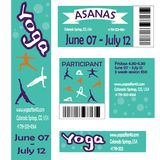 Set of banners and polyfraphy. Set for the festival classes of the conference on yoga. Member card, banner, back, ticket, business card, barcode. Lettering, hand Royalty Free Stock Photo