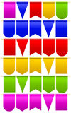 Set festival flags of different colors and shapes. White background. Vector illustration Royalty Free Stock Photo