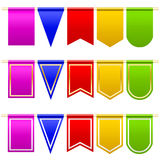 Set festival flags of different colors and shapes. White background. Vector illustration Stock Photography