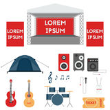 Set of festival or rock music concert elements. Collection of modern open air festival or music concert flat design elements. Stage, guitar, drum, ticket, tent Royalty Free Stock Images