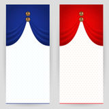 Set of festive backgrounds. Set of festive background in red and blue colours with bronze beads Stock Photo