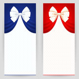 Set of festive backgrounds. Set of festive background in red and blue colours with white bows Stock Photos