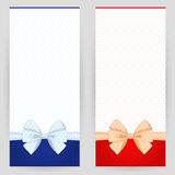 Set of festive backgrounds. Set of festive background in red and blue colours with white bows Stock Photography