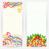 Set of festive backgrounds. Set of bright festive backgrounds with multicolour ribbons, flowers and circles Stock Image