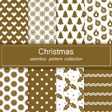 Set of festive backgrounds.Christmas.New year. Vector. Collection of seamless patterns.Gold and white color. Texture for web,print,Wallpaper,decoration Stock Images