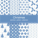 Set of festive backgrounds. Collection of seamless patterns. Blue. Merry Christmas and happy New year Texture for print, Wallpaper, decoration, winter Royalty Free Stock Photos