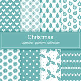 Set of festive backgrounds. Collection of seamless patterns. Blue and white color. Merry Christmas and happy New year Stock Stock Photo