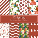 Set of festive backgrounds. Collection of seamless patterns. Cartoon elements for your design. Merry Christmas and happy New year. Stock vector Royalty Free Stock Photography