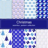 Set of festive backgrounds. Collection of seamless patterns. Cartoon elements for your design. Merry Christmas and happy New year. Stock vector Royalty Free Stock Photo